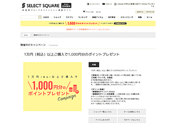 【SELECT SQUARE】1万円(税込)以上ご購入で1,000円分のポイントプレゼント(サイト内全商品対象)