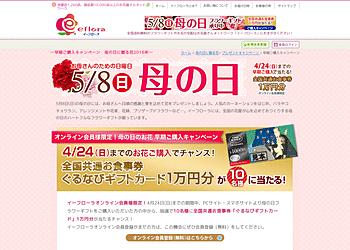 【イーフローラ】 会員登録をして母の日フラワーギフトを購入すると10名様に「ぐるなびギフトカード」1万円分プレゼント。